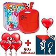 """Ballon-Set """"Love is in the air"""": Helium- / Ballongas-Zylinder + 50x rote Herz-Ballons + 50x Ballonband mit Verschluss - Hochzeit + Liebe + Valentinstag"""
