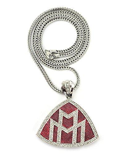 Iced Out Maybach - Ciondolo di forma triangolare, Catenina Franco 91,4 cm, colore: Argento/Rosso