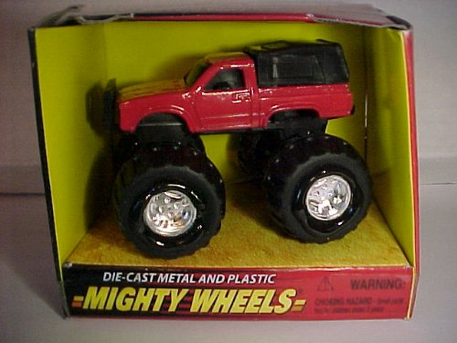 Mighty Wheels Die-Cast Metal and Plastic Red Truck with BIG Tires and Flames 862250