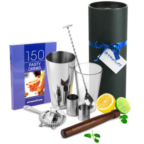 Luxury Home Cocktail Set with Book by bar@drinkstuff | Cocktail Gift Set with Boston Cocktail Shaker Tin & Glass, Cocktail Book, Hawthorne Cocktail Strainer, Muddler, Twisted Mixing Spoon, 25ml & 50ml Thimble Bar Measure