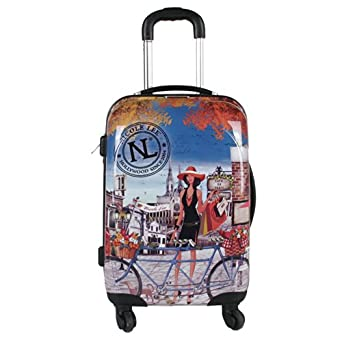 Nicole Lee Kiswa 21 Inch Rolling Abs Hard Case Carry-On, Bicycle, One Size