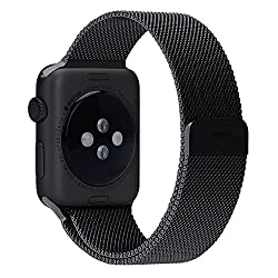 Apple Watch band 42mm Milanese Loop by Photive. Stainless Steel Bracelet Strap for Apple Watch. (Black)