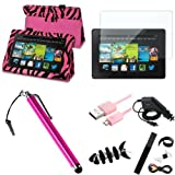 """Snap on Cover Fits Amazon Kindle All-New Kindle Fire HD 7"""" 2nd Gen 2013 Hot Pink Zebra Pattern PU Leather Stand Folio +Matte Screen + Stylus/Pen + USB Cable + Car Charger + Fish-shaped Earphone Cord Winder Amazon (does not fit Kindle Fire HD 7"""" 2012) (Please carefully see the 2nd image to locate the correct model of your Kindle)"""