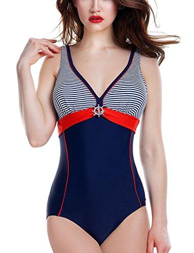 Ewlon Aqua Badeanzug Für Damen, Triangel, Regulierbare Träger, V-Ausschnitt, Größe 40, Dunkelblau-Rot