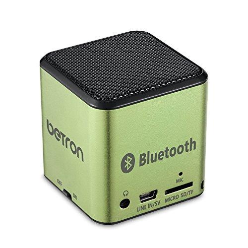 MC500-Mini-Bluetooth-Lautsprecher-von-Betron-fr-unterwegs-aufladbar-fr-die-Reise-kabellos-in-Grn-fr-iPhone-iPad-iPod-Samsung