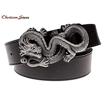 Personalized Punk Dragon Shaped Buckle Men Belt Creative Gift for Men White
