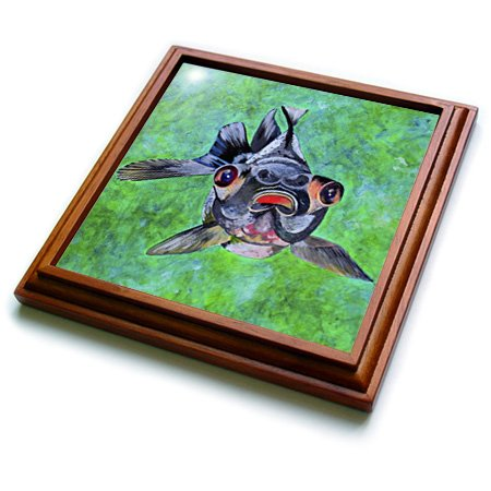 Trv_46714_1 Taiche - Acrylic Painting - Fish - Black Moor Goldfish - Black Moor Goldfish, Telescope Goldfish, Goldfish, Dragon Eye Goldfish - Trivets - 8X8 Trivet With 6X6 Ceramic Tile