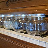 Mason Jar With Lid, Wide Mouth Short Square Pint, 16 oz, 4 PACK