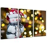 Muñeco de nieve, foto de navidad, 3-pedazo de la lona (Total Tamaño: 120x80 cm), la impresión del arte de alta...