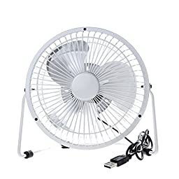Momoday® 360-degree Rotating Rotatable Fan USB Powered Mini Metal Electric Fan Desk Cooling Fan Portable Office Computer Laptop PC USB Plug Queit Radiating Cooling Mini Fan With ON/OFF Switch (White)