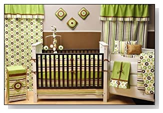 Bacati - Mod Dots/stripes Green/choco 10 Piece Crib Set Without Bumper
