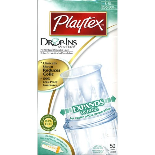 Playtex Drop-Ins Disposable Bottle Liners, 8 Oz, 50 Liners front-1032949