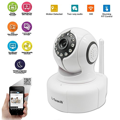 iZtouch IZSP-011 White 1280x720P HD H.264 Wireless/Wired IP Camera with Two-Way Audio IR-Cut Filter Night Vision Pan/Tilt Control QR Code Scan Phone remote monitoring supported
