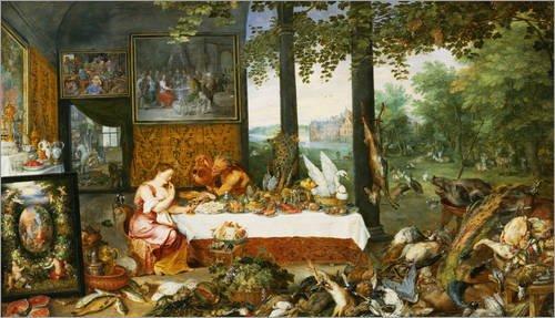 holzbild 70 x 40 cm der geschmackssinn von jan brueghel d. Black Bedroom Furniture Sets. Home Design Ideas