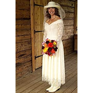 Drop Waist Western Wedding Dress