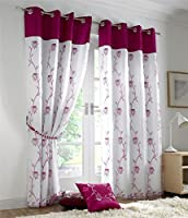 "CERISE PINK WHIITE FLORAL ROSE 58X72"" (147x183CM) FULLY LINED RING TOP VOILE CURTAIN DRAPES by Curtains"