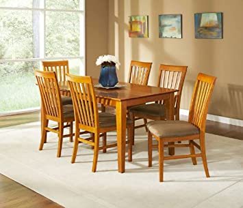 Shaker Dining Table w/Cappucino Seat Dining Chair in Caramel Latte by Atlantic Furniture
