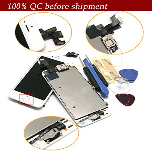 For Iphone 5S White Full Set With Spare Parts Lcd Screen Replacement Digitizer With Home Button, Bracket, Flex, Sensor, Front Camera, Frame Housing Assembly Display Touch Panel + Free Repair Tool Kits [Ships From Usa]