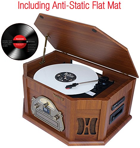 7-in-1 Boytone BT-15TBSM Classic Turntable Stereo System, Vinyl Record Player, AM/FM, CD, Cassette, USB, SD slot. 2 Built-in Speaker, Remote Control, MP 3 Players. (Turntable Am Fm compare prices)