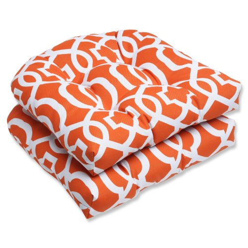 Pillow Perfect Outdoor New Geo Wicker Seat Cushion, Orange, Set of 2 photo