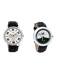 Gledati Men's White Dial And Foster's Women's Black Dial Analog Watch Combo_ADCOMB0001753