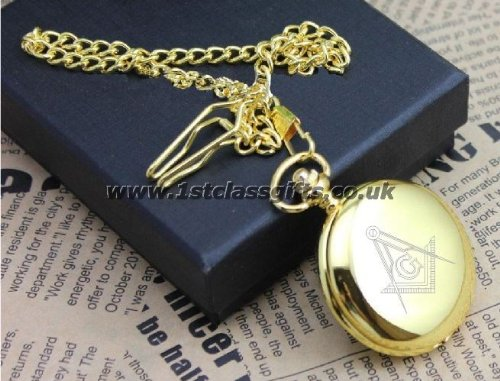 POCKET WATCH MASONIC LOGO PWG7 GOLD CAN BE PERSONALISED ENGRAVED FREE