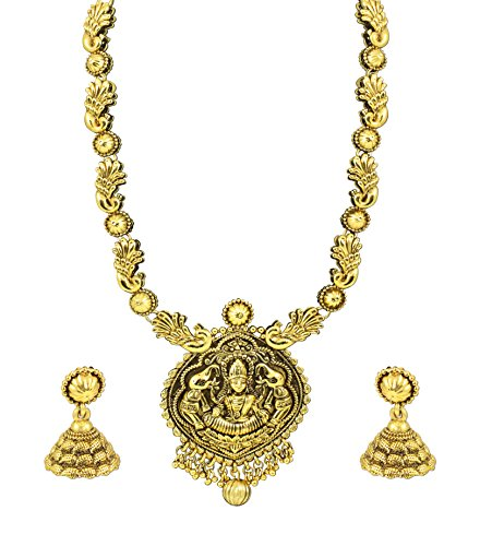 Zaveri Pearls Gold Metal Choker Necklace Set With Jhumki Earring For Women/Girls-Zpfk4128