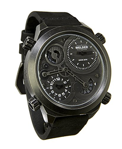 Welder Men's Quartz Watch with Black Dial Analogue Display and Black Leather Strap K50-401