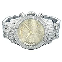 Luxurman Mens Watches Floating Diamond Watch 1.30ct