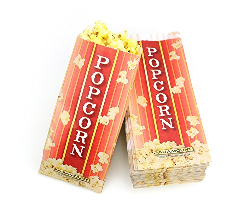 100 Popcorn Serving Bags - Pinch Bottom Paper Bag Style (Popcorn Bag Flat compare prices)