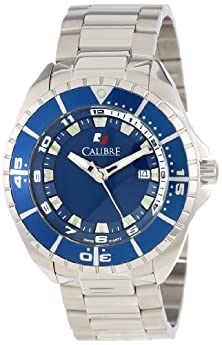 buy Calibre Men'S Sc-5S2-04-001.3 Sea Knight Round Stainless Steel Blue Aluminum Bezel Luminous Date Watch