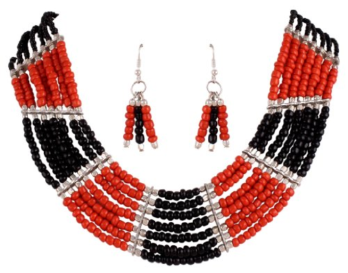 Sharnam Art Tribal / Ethnic master piece Necklace Set in Red & Black color