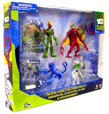 Picture of Bandai Ben 10 4 Inch Exclusive Alien Force Action Figure 4-Pack 1 (Swampfire, Echo Echo, Jet Ray and Spidermonkey) (B001VMHL6C) (Ben 10 Action Figures)