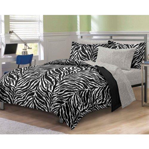 Zebra 5 Piece Bed In A Bag Set Size: Full, Color: Black