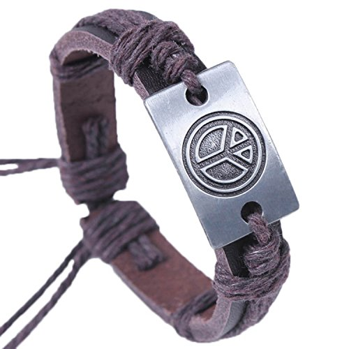 Modern Fantasy Alloy Environmental Tree Engraved Brown Adjustable Length Leather Bracelet