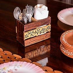 ExclusiveLane Floral Work Wooden Cutlery Holder