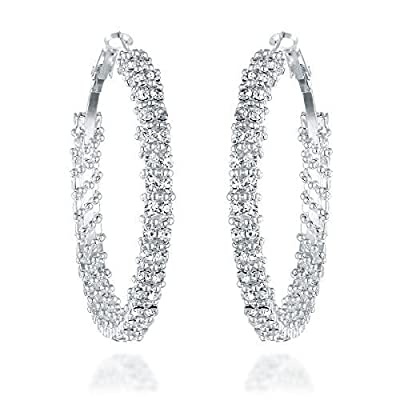 Gemini Women's Silver Plated Created CZ Diamonds Big Large Round Hoop Party Wedding Earring Gm008 , Size: 1.5 inches , Color: Silver