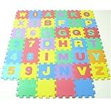 アルファベットと数字のパズルマット 15cm 40ピース(30cm換算×10枚)(A666)