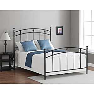 Black metal bed frame twin or full sized kids for Bedroom furniture amazon