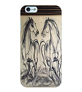 ColourCraft Horses Sketch Design Back Case Cover for APPLE IPHONE 6S