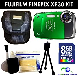 Fujifilm FinePix XP30 Digital Camera (Green) Value Kit