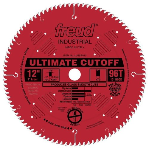 Freud LU85R012 12-Inch 96 Tooth ATB Crosscutting Saw Blade with 1-Inch Arbor and PermaShield Coating
