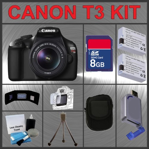 Canon EOS Rebel T3 EOS 1100D 12.2MP Digital Camera with Canon 18-55mm and Tamron AF 75-300mm f/4.0-5.6 LD for Canon Digital SLR Cameras + 16GB Memory Card + Digital Flash + SD Memory Card Reader + Li-Ion Replacement Battery Pack + Deluxe Cleaning Kit + Ca