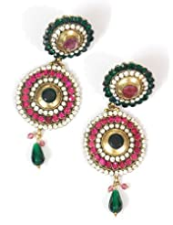 Traditional And Ethnic Pink Green & Zircon Earring