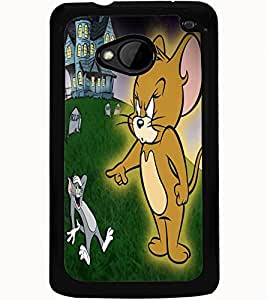 ColourCraft Funny Cat and Rat Design Back Case Cover for HTC ONE M7