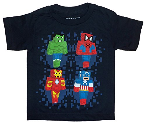 Avengers Spider-Man Hulk Iron Man Captain America Block Pixel Kids Youth T-shirt
