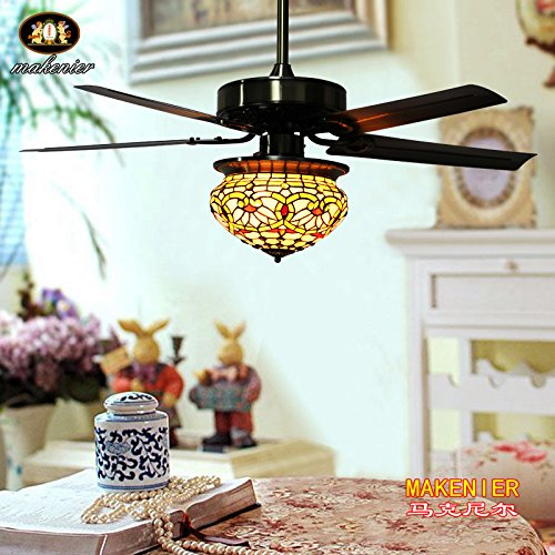 Makenier Vintage Tiffany Style Stained Glass Lotus Single-light Lampshade Ceiling Fan Light Kit, with Metal Blades 2