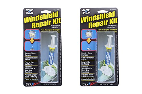Blue-Star Fix your Windshield Do It Yourself Windshield 2 Repair Kits, Made in USA (.027 fl. oz.) (Cracked Glass Repair Kit compare prices)