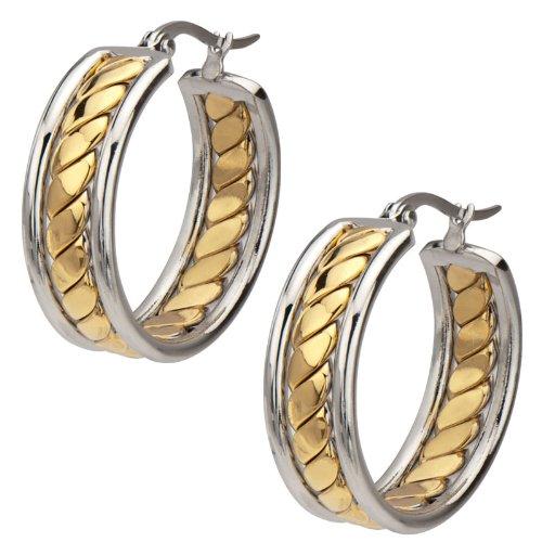 Inox Jewelry Women's Stainless Steel Gold PVD Twist Hoop Earrings