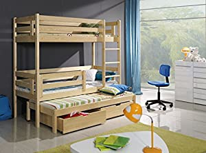 Bert 3ft Wooden Children Triple Bunk Beds With Mattresses And Storage Drawers/ White,pine,blue,pink Colours Available